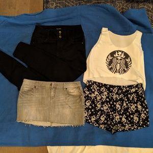 Shirt shorts skirt and jeans bundle